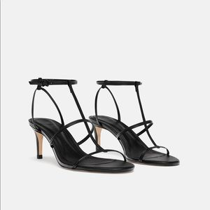 NWT ZARA HIGH HEEL LEATHER SANDALS